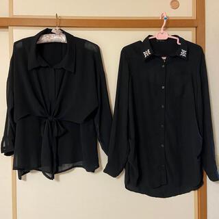 アンレリッシュ(UNRELISH)のブラックシャツ 2枚セット(シャツ/ブラウス(長袖/七分))