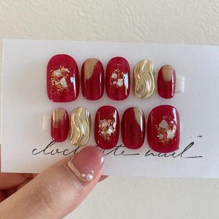和装❁成人式❁前撮り❁ネイルチップ❁付け爪❁赤ミラー