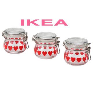イケア(IKEA)の【限定新製品】【新品】 IKEA ガラス保存容器 ハート柄 130ml × 3個(容器)