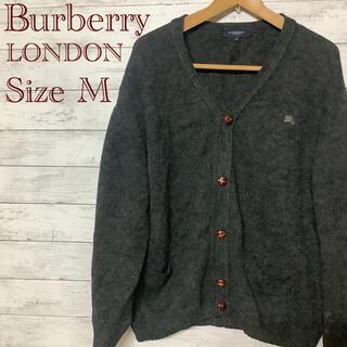 バーバリー(BURBERRY)のBurberry LONDON 一点物 チャコールグレー ニットカーディガン M(カーディガン)