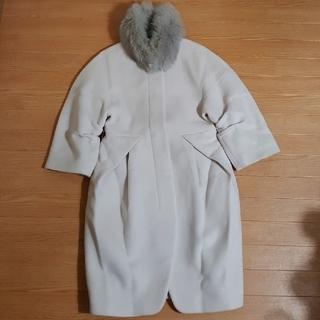 ダブルスタンダードクロージング(DOUBLE STANDARD CLOTHING)のソブSov ダブルスタンダード コクーン ノーカラーコート フォックスファー(ロングコート)