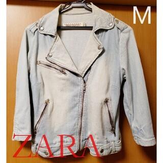 ザラ(ZARA)の値下げ‼️【ZARA】デニム クロップド ライダースジャケット Mサイズ(ライダースジャケット)