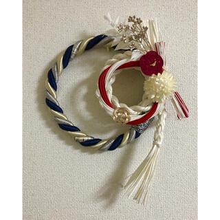 ハンドメイド お正月飾り パープル×ホワイト(インテリア雑貨)