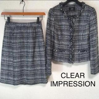 クリアインプレッション(CLEAR IMPRESSION)のクリアインプレッション ツイード ノーカラースーツ 上2下1 W64 DMW(スーツ)
