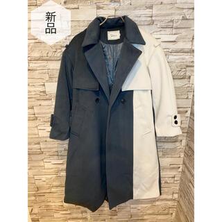 【新品】トレンチコート ロングコート レディース 紺 白 人気 M(トレンチコート)