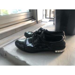 ロンハーマン(Ron Herman)のミュウミュウ miumiu ビジュー エナメル レース フラット シューズ 35(ローファー/革靴)