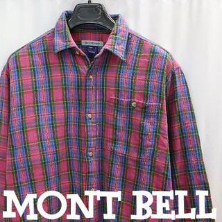 モンベル(mont bell)のモンベル ピンクチェック柄!厚手フランネルシャツLサイズコットンシャツジャケット(シャツ)