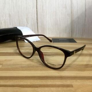 シャネル(CHANEL)のシャネル メガネ ワインレッドフレーム 丸メガネ 3213(サングラス/メガネ)