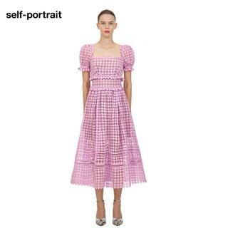 セルフポートレイト(SELF PORTRAIT)の❤️ •正規品Selfportrait20新作新品 紫色ワンピースドレス(ロングワンピース/マキシワンピース)