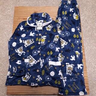 新品タグ付き 紺 柴犬 ふわもこフリースパジャマ 上下組 フリーサイズ(パジャマ)