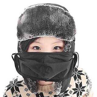 ブラック帽子 キッズ パイロット帽 子供 パイロットキャップ 秋 冬 暖かい 耳(ウエア)