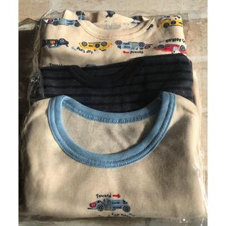 [未使用]90cm長袖インナーシャツ3枚ネーム記入タグ付き車柄ネイビーストライプ(下着)