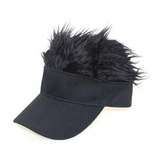 204黒 サンバイザー ゴルフバイザー ジョークグッズ ウイッグ キャップ 帽子(サンバイザー)