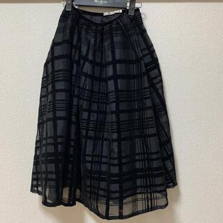 アウラアイラ(AULA AILA)のアウラアイラ 透けチェックスカート(ひざ丈スカート)