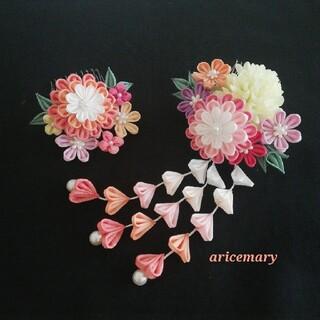 正絹 グラデーションの菊のつまみ細工髪飾り(ヘアアクセサリー)