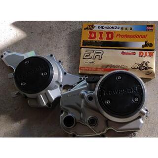 KLX110エンジンケース、チェーン2つ(モトクロス用品)