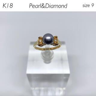 【新品仕上げ済】K18 グレーパール&ダイヤモンド リボンリング(リング(指輪))