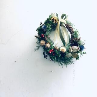 【完売・展示品】スワッグ クリスマスリース H30cm×W38cm バンクシア(ドライフラワー)