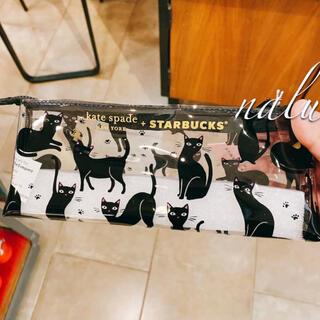 スターバックスコーヒー(Starbucks Coffee)のスターバックス ケイト・スペードコラボ 黒猫モチーフペンケース(ペンケース/筆箱)