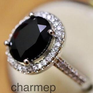 【OT023】ブラックカラーのオーバルストーンリング(リング(指輪))