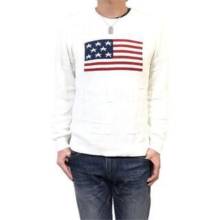 新品 L アメリカ 星条旗柄 コットン セーター ジャガード ニット(ニット/セーター)