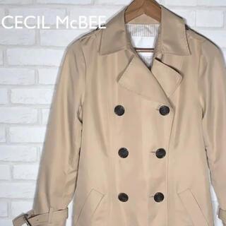 セシルマクビー(CECIL McBEE)の美品 セシルマクビー トレンチコート ロングコート ベルト付 薄紅色 ベージュ(トレンチコート)
