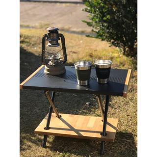 ユニフレーム(UNIFLAME)の【3点セット】木製棚板付き ブラック焚き火テーブル 黒 折りたたみ ステンレス(テーブル/チェア)