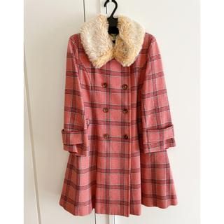 ジェーンマープル(JaneMarple)のJane Marple ピンクチェック ウールコート(ひざ丈スカート)