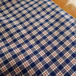 青と赤のチェック柄生地 110×4m 綿100% 手芸 ハンドメイド 裁縫(生地/糸)