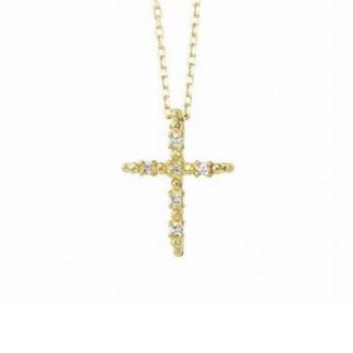アーカー(AHKAH)のアーカー クロスアピアーズ ネックレス k18 ダイヤ(ネックレス)