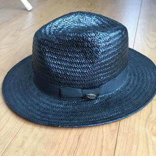 エポック(EPOCH)のブラック ストローハット 麦わら帽子 エポック epoch(ハット)