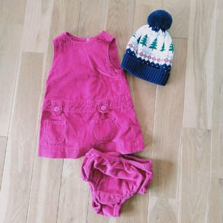 ベビーギャップ(babyGAP)のbaby GAP セットコーデ 女の子ワンピース ニット帽 (ワンピース)