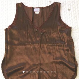 ロキエ(Lochie)のvintage サテン ブラウン チョコレート色 タンクトップ(タンクトップ)