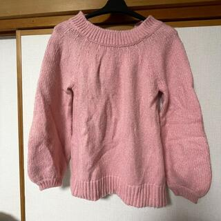 【美品新品同様】ピンク ゆったりニット リボン付き 日本未上陸(ニット/セーター)