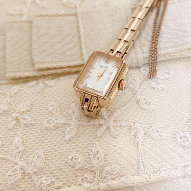 agete(アガット)のアガット スクエアフェイス ジュエリーウォッチ レディースのファッション小物(腕時計)の商品写真