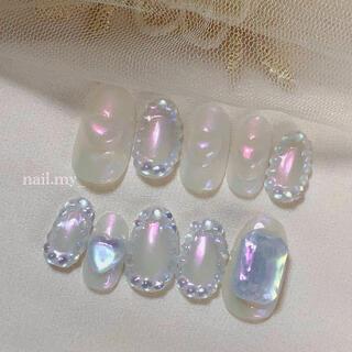 オーロラネイル ピンク×ブルー ネイルチップ ジェルネイル(つけ爪/ネイルチップ)