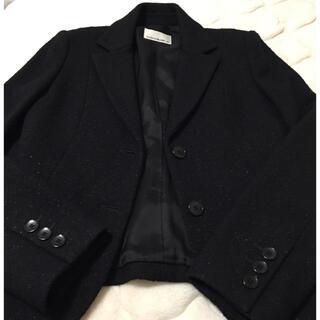エムプルミエ(M-premier)のエムプルミエブラック 黒 ツイード素材 ジャケット サイズ40(テーラードジャケット)