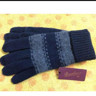Borsalino - ボルサリーノニット手袋裏起毛 部分皮革)濃紺