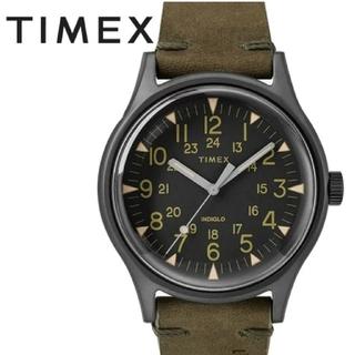 タイメックス(TIMEX)の18700円→【TIMEX】タイメックス、スチール、40mm、オリーブ、レザー(腕時計(アナログ))