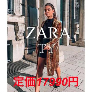 ザラ(ZARA)の完売品 ザラ シルク ベルベット フロックコート ジャケット マスタード ガウン(ガウンコート)