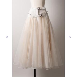 ラベルエチュード(la belle Etude)の【Belle vintage】ベルトデニムドッキングボリュームチュールスカート(ロングスカート)