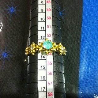 パライバトルマリンリング 0.247ct K18YG  13.5号(リング(指輪))