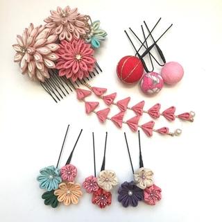 つまみ細工 髪飾り(正絹) 春(ヘアアクセサリー)