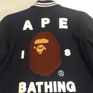 アベイシングエイプ(A BATHING APE)の【値下げ】美品 A BATHING APE メルトン フェイス刺繍 スタジャン(スタジャン)