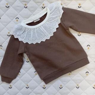 シマムラ(しまむら)の新品   襟レース ブラウン トップス しまむら 裏起毛 冬用(Tシャツ/カットソー)