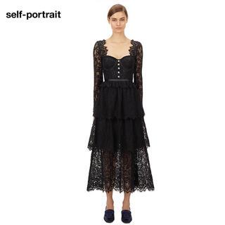 セルフポートレイト(SELF PORTRAIT)の❤️ •正規品Selfportrait20新作新品黒ロングワンピースドレス 2色(ロングワンピース/マキシワンピース)