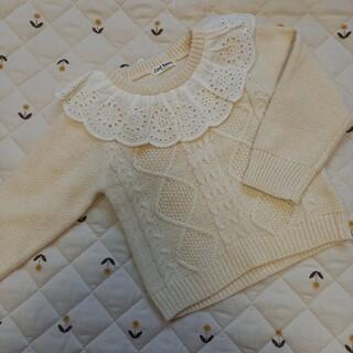 シマムラ(しまむら)の新品   襟レース ケーブル編み ニット ホワイト(ニット)