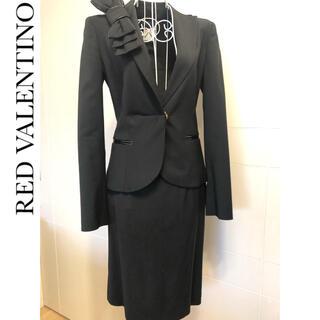 レッドヴァレンティノ(RED VALENTINO)の◆RED VALENTINO◆ 襟リボン スカートスーツ セットアップ ブラック(スーツ)