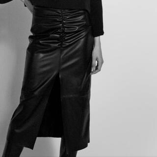 ザラ(ZARA)のZARA レザー スカート タイトスカート レザー風フレアーミディスカート(ロングスカート)
