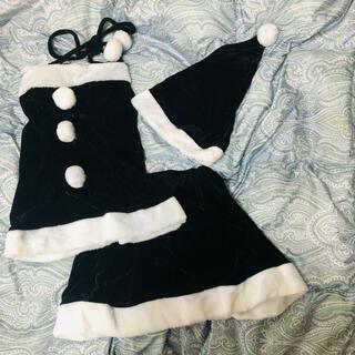 デイジーストア(dazzy store)の【一度室内短時間のみ使用】サンタコスプレ 黒サンタ クリスマスパーティ ブラック(衣装一式)